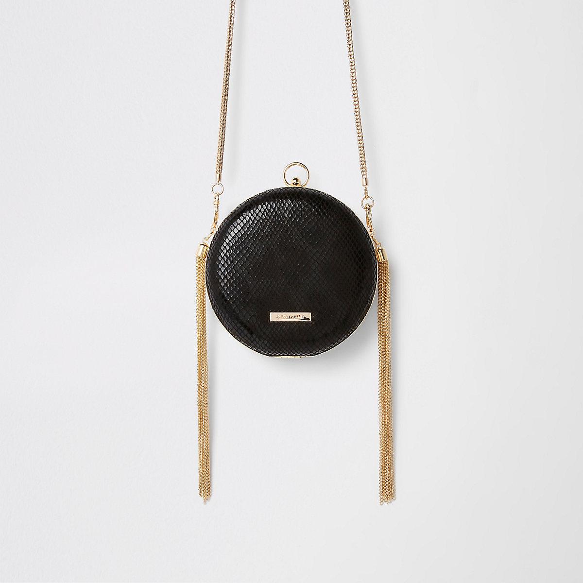 Black circle tassel cross body bag