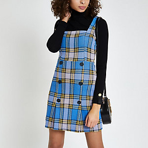 Mini-robe chasuble à carreaux bleue
