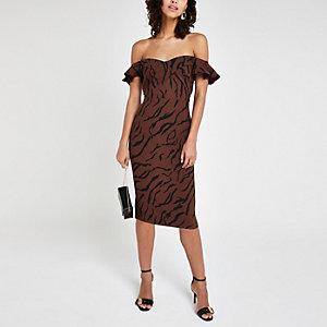Robe mi-longue moulante imprimé tigré marron