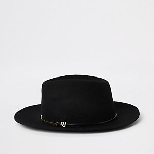 Black felt gold bar trim fedora hat