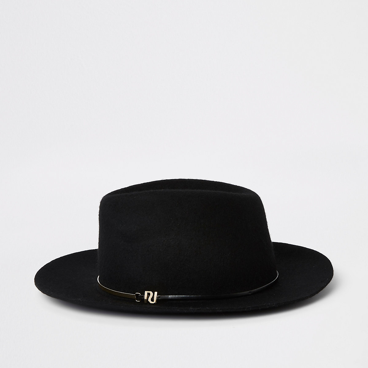 Black felt gold bar trim fedora hat