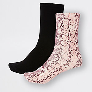 Pink snake print ankle socks 2 pack