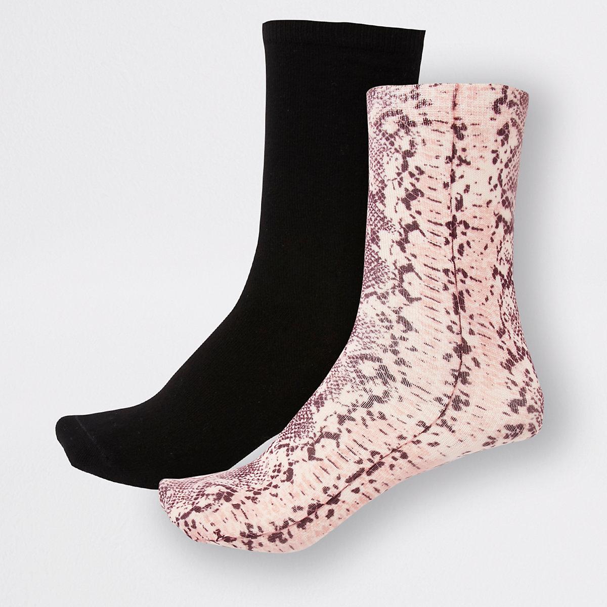 Pink snake print ankle socks 2 pack