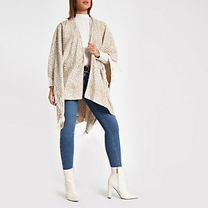 Beiges Cape mit Leoparden-Print