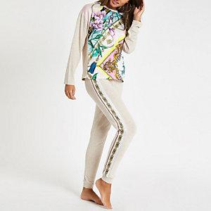 Beige, geblümte Pyjama-Jogginghose