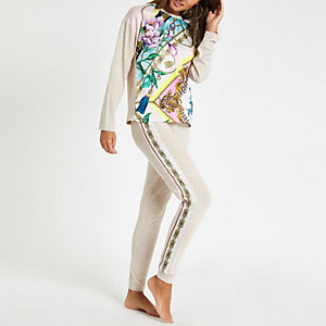 Pantalon de pyjama façon jogging à fleurs beige
