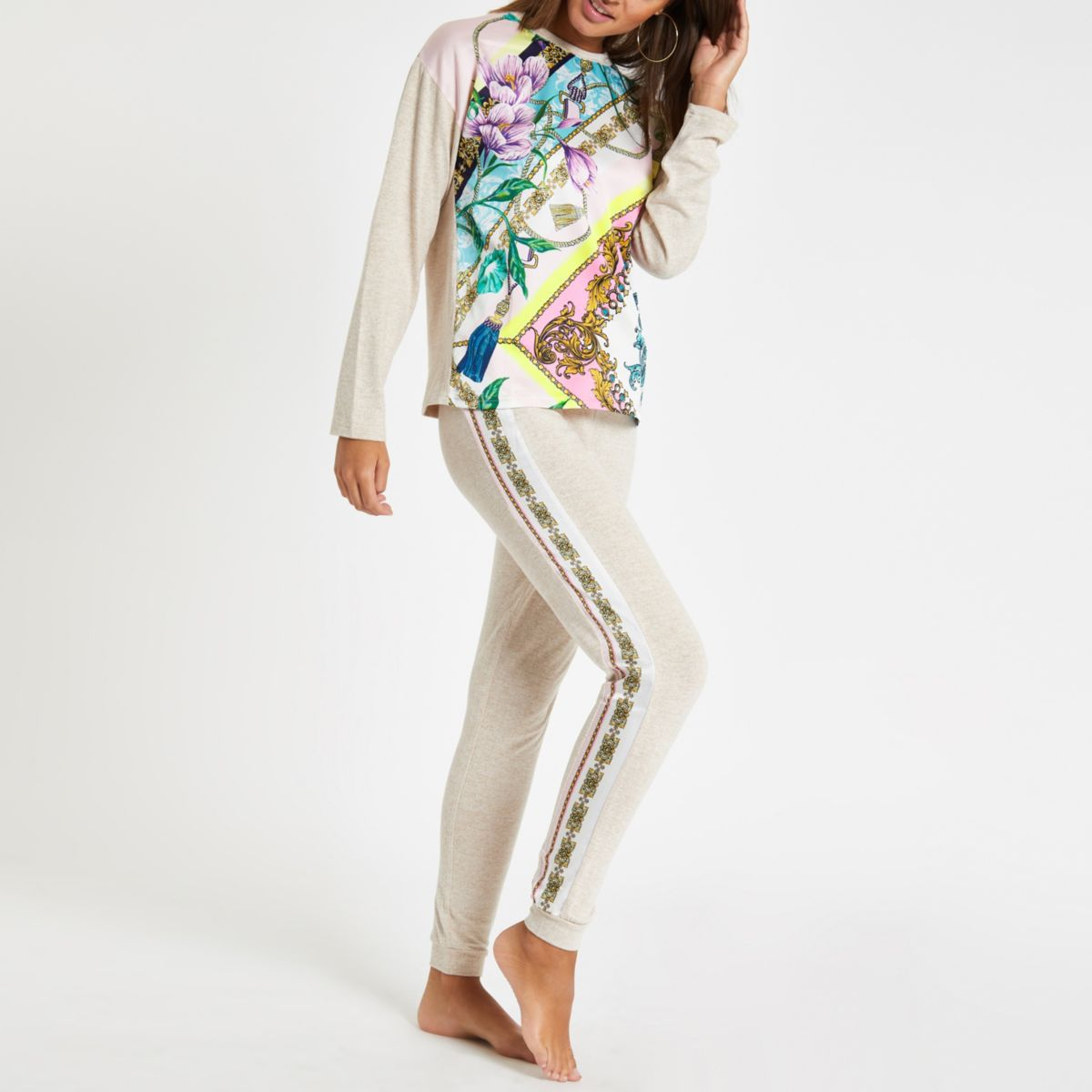 Beige floral print pajama joggers