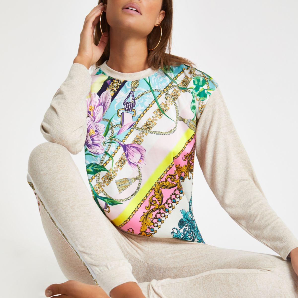 Beige floral print pajama top