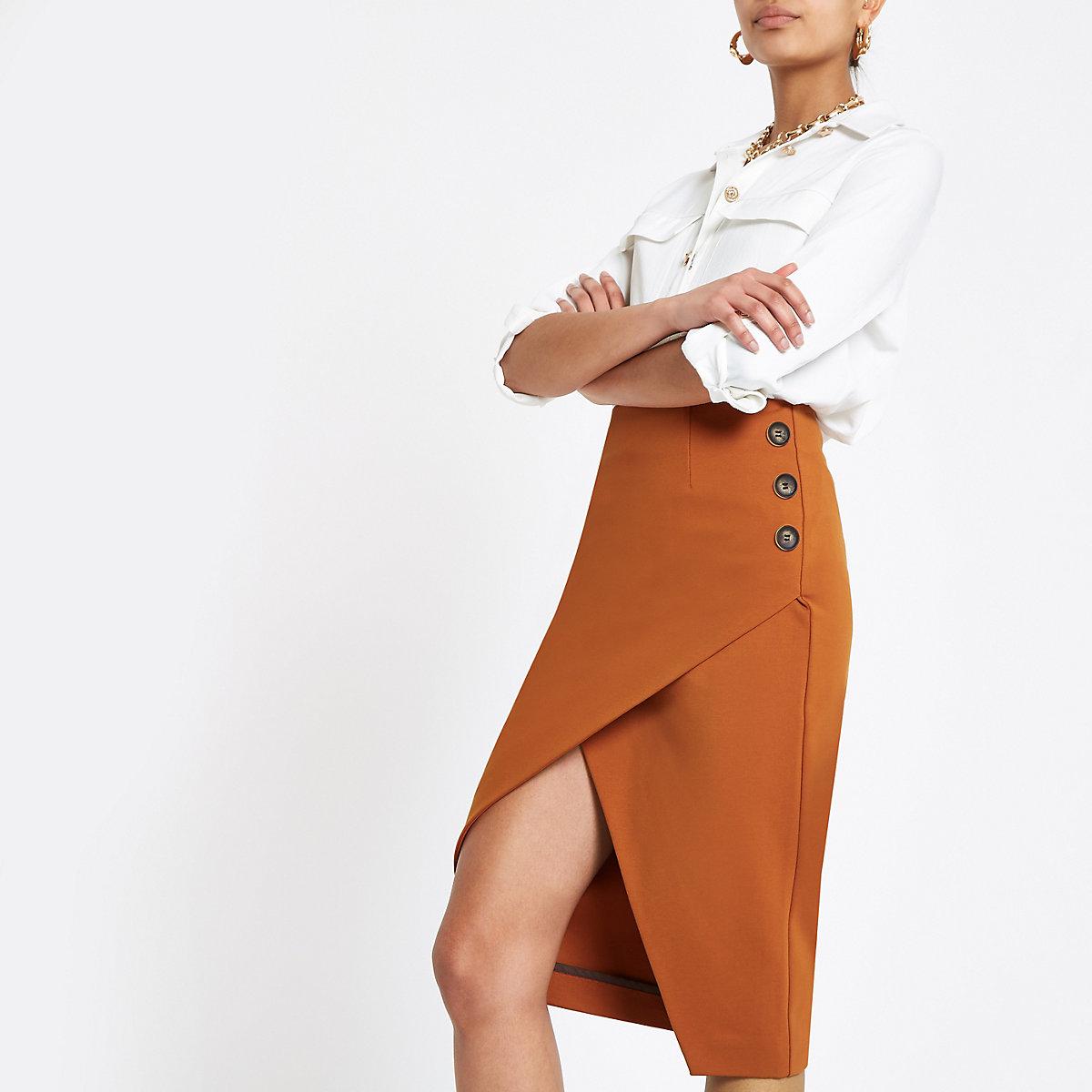 Brown button wrap pencil skirt