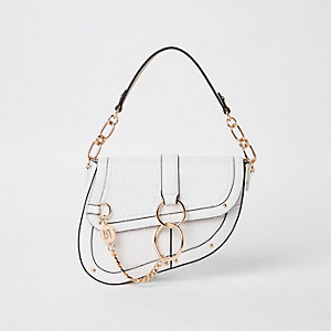 White croc embossed saddle underarm bag