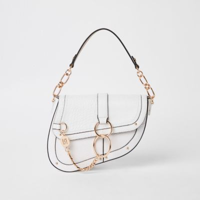White Croc Saddle Bag