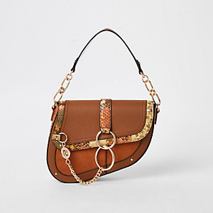 Dark beige saddle underarm bag