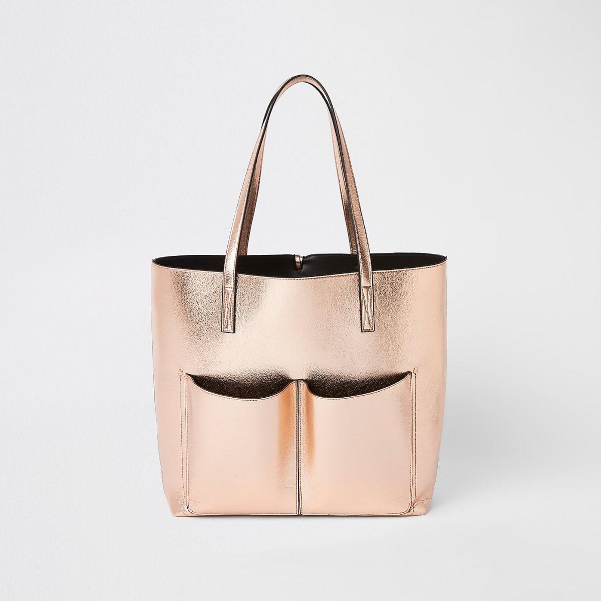 Gold rose metallic beach bag