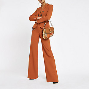 Copper button wide leg trousers