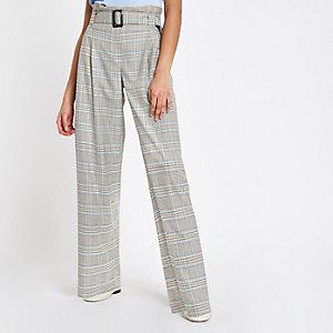 Pantalon à carreaux gris avec taille haute ceinturée