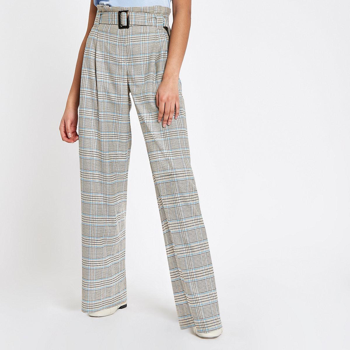 Grey check paperbag waist pants