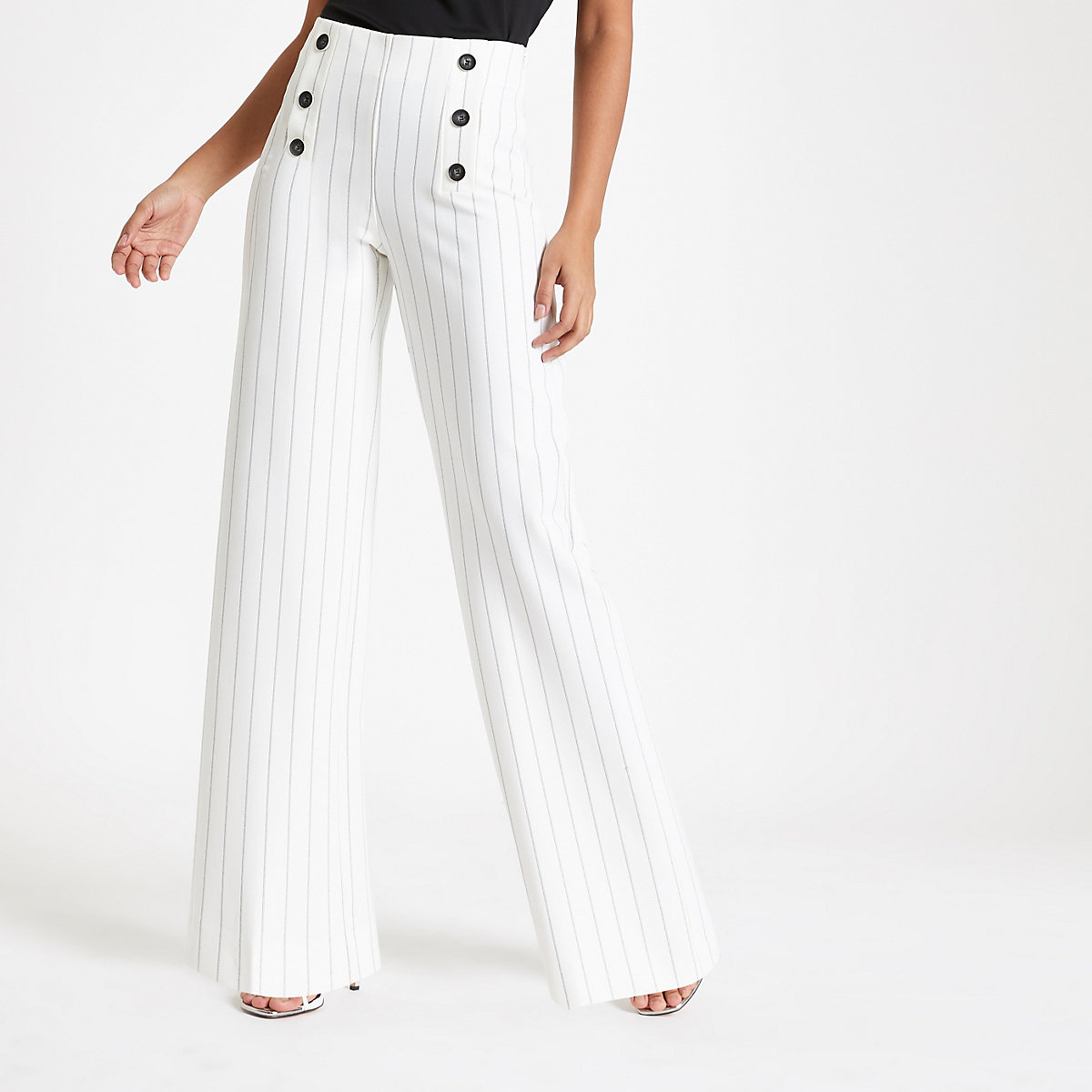 Cream stripe wide leg trousers