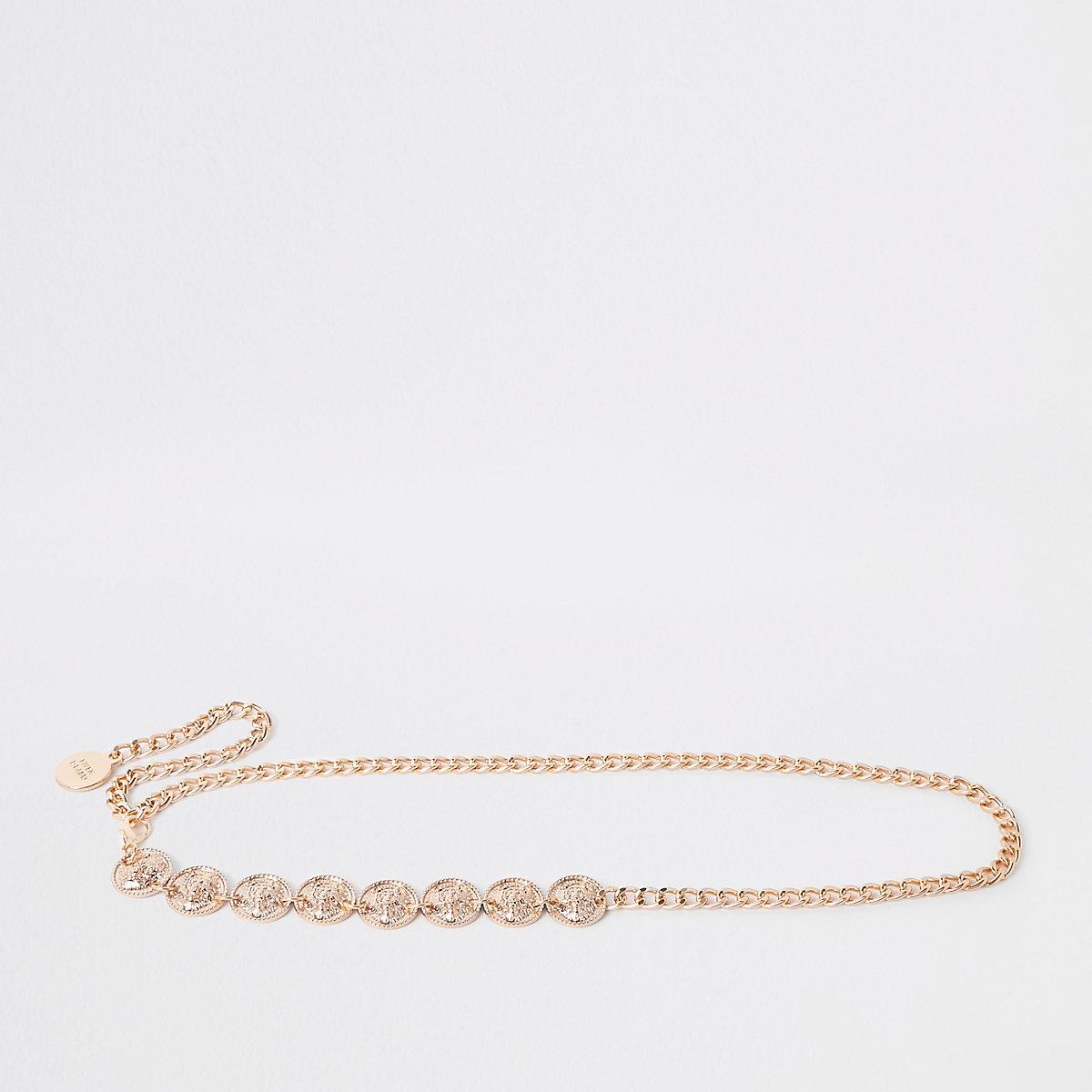 Gold color jaguar coin head waist belt