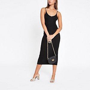 Zwarte geribbelde cami midi-jurk