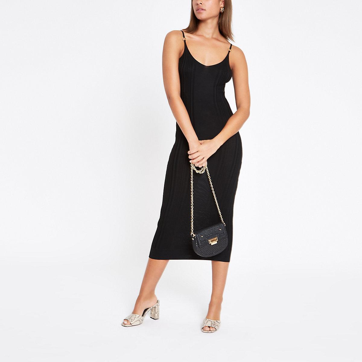 Black ribbed cami midi dress
