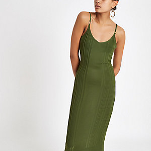 Khaki ribbed cami midi dress