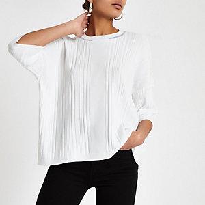 Wit oversized T-shirt met ronde hals