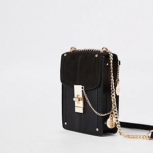 012b709a6dc8 Black twist lock cross body bag