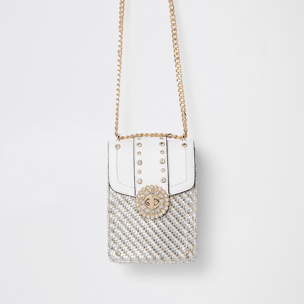 White embellished lock cross body bag