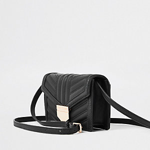 Black quilted cross body mini bag