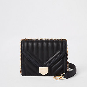Black quilted bar top cross body bag