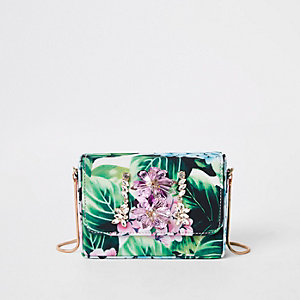 Green embellished boxy mini cross body bag