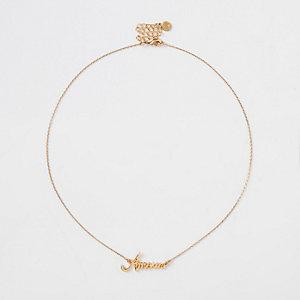 Collier à pendentif «Amour» en or plaqué