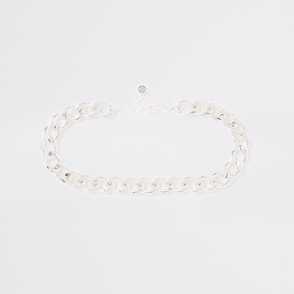 Silver colour chunky curb chain choker