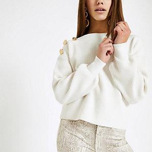 Petite cream knit button shoulder sweater