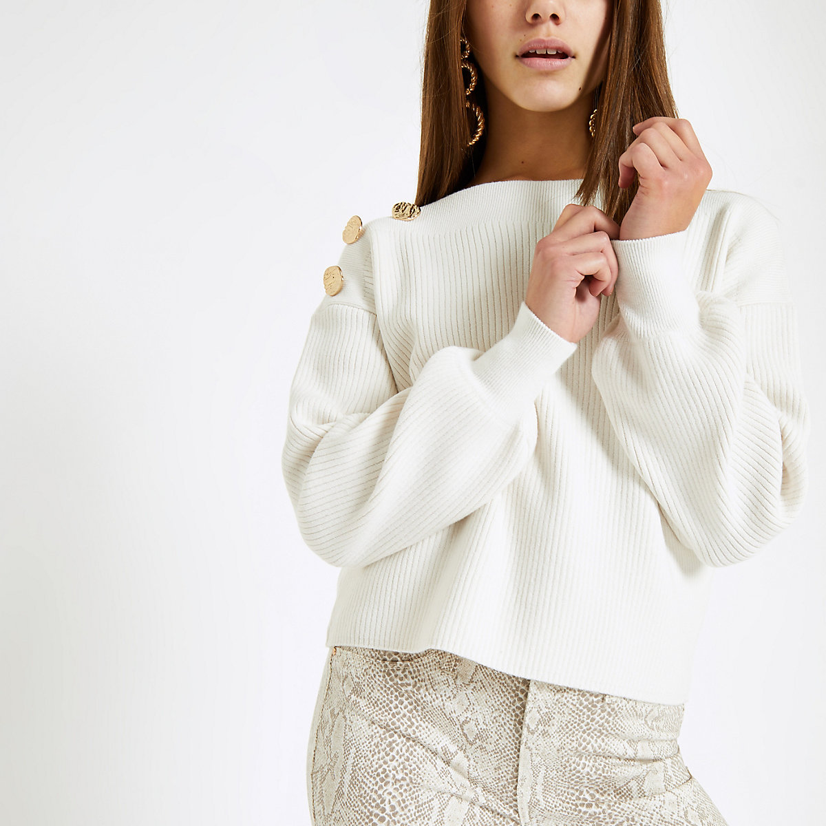 Petite cream knit button shoulder sweater