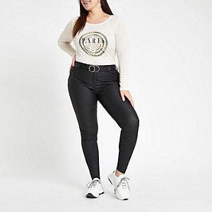 RI Plus - Wit T-shirt met 'Paris'-print en lange mouwen
