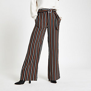 Petite – Pantalon rayé marron