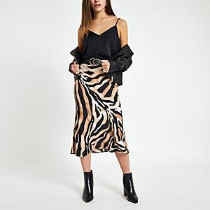 Petite beige zebra print midi skirt
