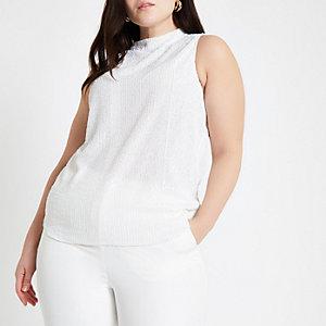 Plus – Weißes, verziertes Oberteil