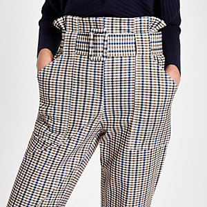Brown check paperbag waist pants