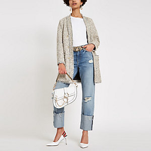 Cream boucle longline jacket