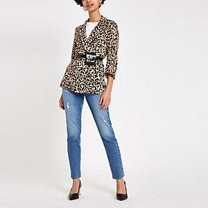 Brauner Blazer mit Leoparden-Print