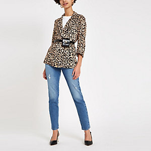 Bruine blazer met luipaardprint