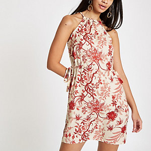 Red floral print swing dress