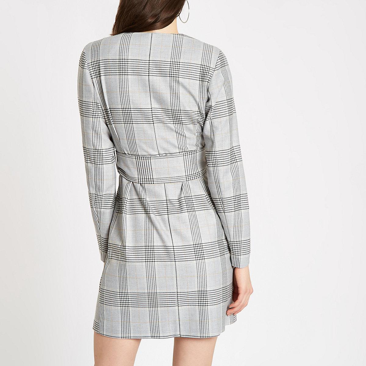 Robe portefeuille à carreaux grise avec ceinture - Robes trapèze ... 6da2e1fbcd4