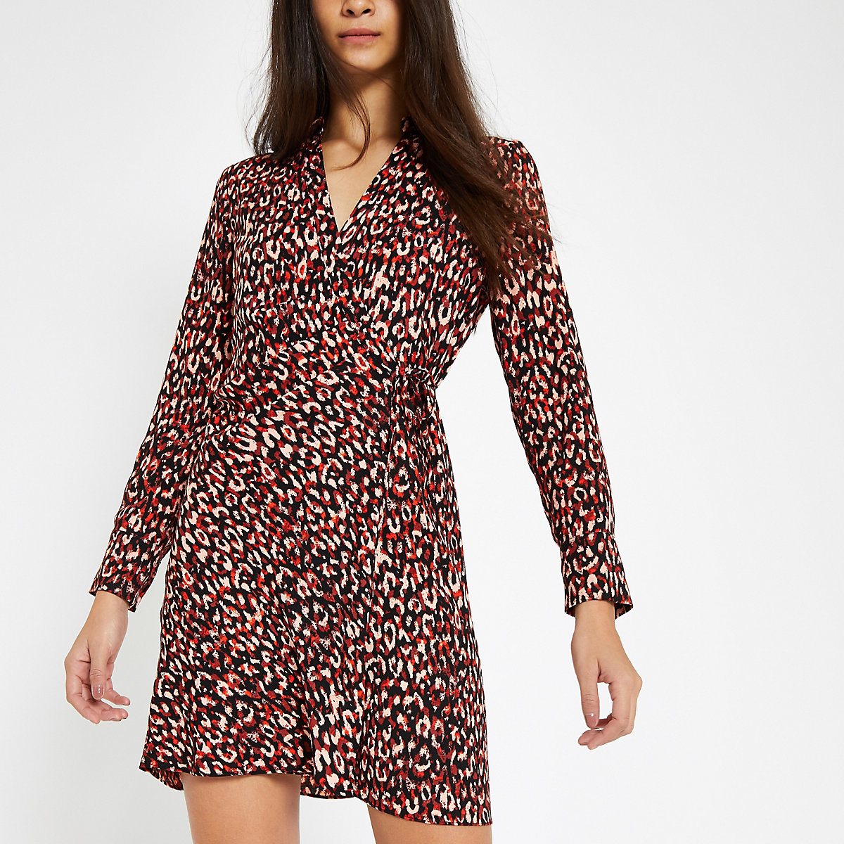Red print wrap tea dress