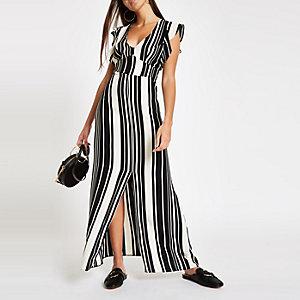 Zwarte gestreepte jurk met split voor
