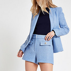 Blue button detail shorts