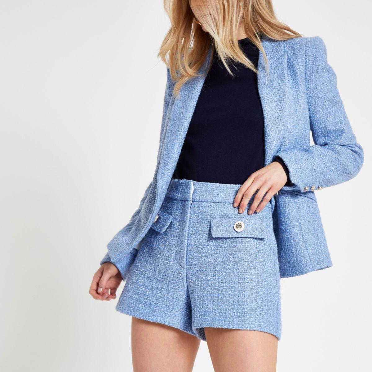 Blue button detail shorts