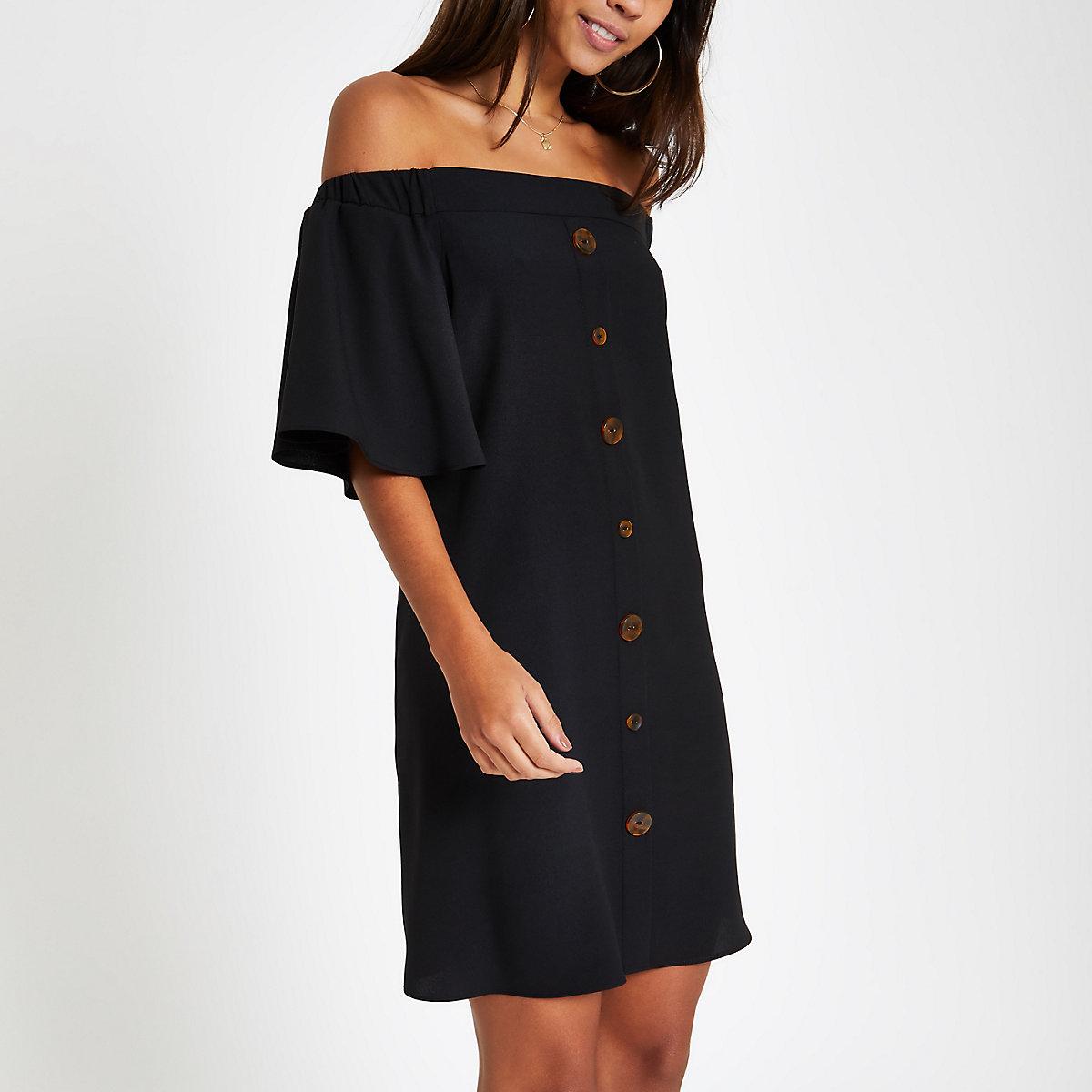 Black bardot button front swing dress